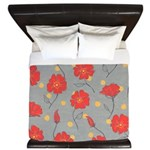 Fleur - Gray and Red Floral Pattern King Duvet