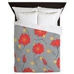 Fleur - Gray and Red Floral Pattern Queen Duvet