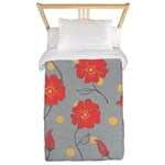 Fleur - Gray and Red Floral Pattern Twin Duvet