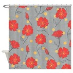 Fleur - Gray and Red Floral Pattern Shower Curtain