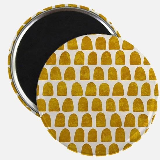 Gold Leaf Mustard Yellow Dot pattern Magnet