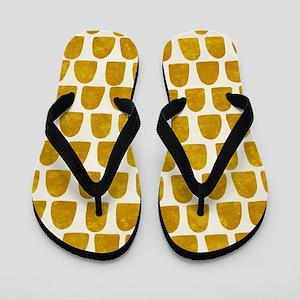 Gold Leaf Mustard Yellow Dot pattern Flip Flops