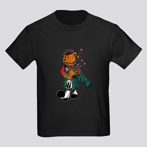 Jimmie the Scottish Piper Bear Kids Dark T-Shirt