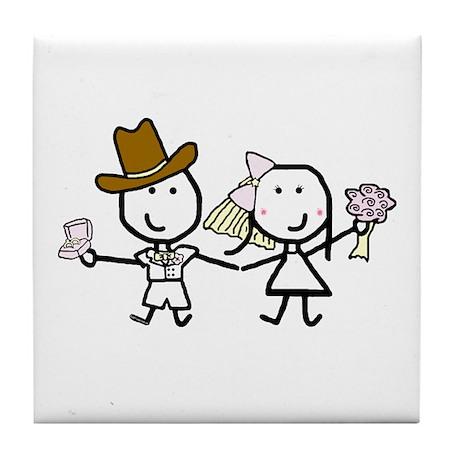 Wedding - Steven & Tracy 3 Tile Coaster