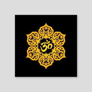 Yellow and Black Lotus Flower Yoga Om Sticker