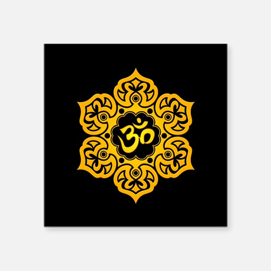 Yellow and Black Lotus Flower Yoga Om Sticker