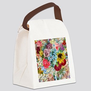 Colorful Flower pattern Canvas Lunch Bag