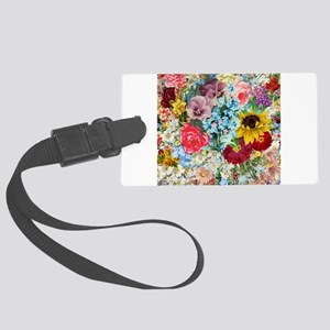Colorful Flower pattern Large Luggage Tag
