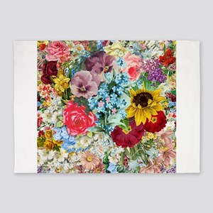 Colorful Flower pattern 5'x7'Area Rug