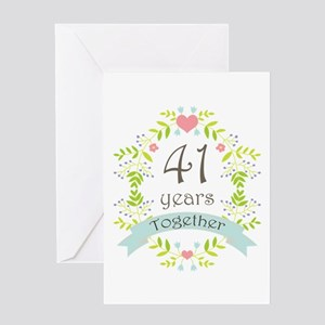 41st Anniversary Flowers And Hearts Greeting Card