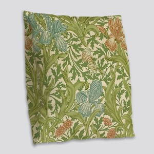 William Morris Iris Design Burlap Throw Pillow