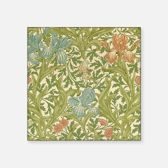 """William Morris Iris Design Square Sticker 3"""" x 3"""""""