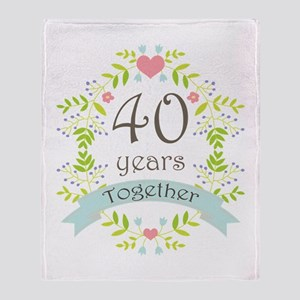 40th Anniversary flowers and hearts Throw Blanket