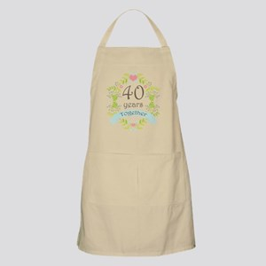 40th Anniversary flowers and hearts Apron