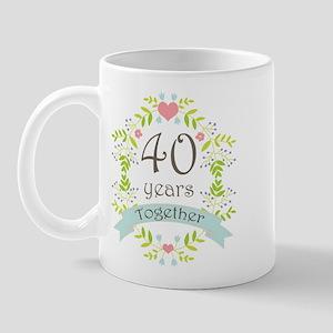 40th Anniversary flowers and hearts Mug