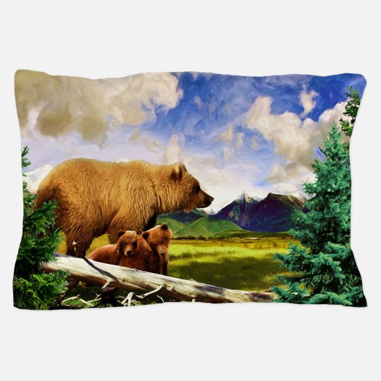 Three Grizzlies in Montana Pillow Case