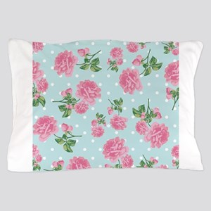 Pink Roses on mint Pillow Case