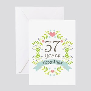 37th Anniversary Flowers And Hearts Greeting Card