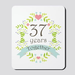 37th Anniversary flowers and hearts Mousepad