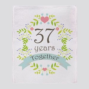 37th Anniversary flowers and hearts Throw Blanket