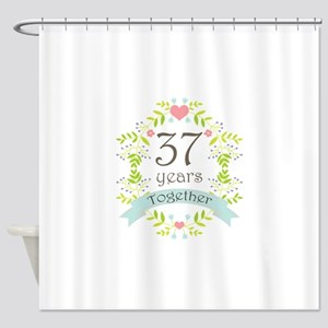 37th Anniversary flowers and hearts Shower Curtain