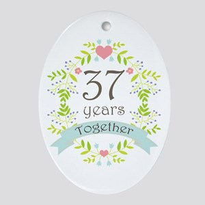 37th Anniversary flowers and heart Ornament (Oval)