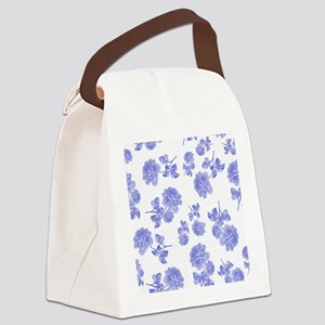 Blue Roses on white Canvas Lunch Bag