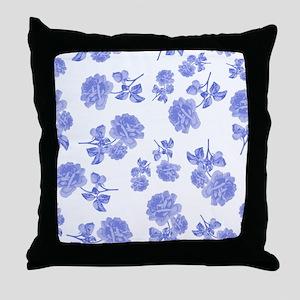 Blue Roses on white Throw Pillow