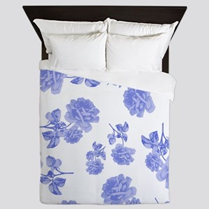 Blue Roses on white Queen Duvet
