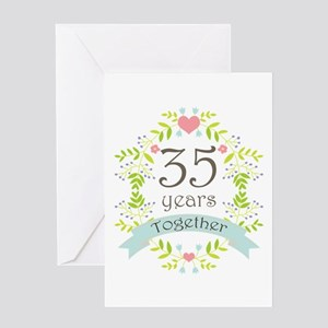 35th Anniversary flowers and hearts Greeting Card