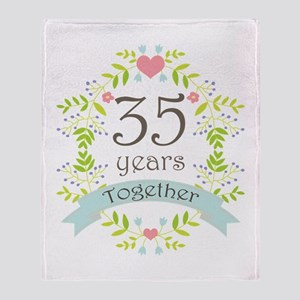 35th Anniversary flowers and hearts Throw Blanket