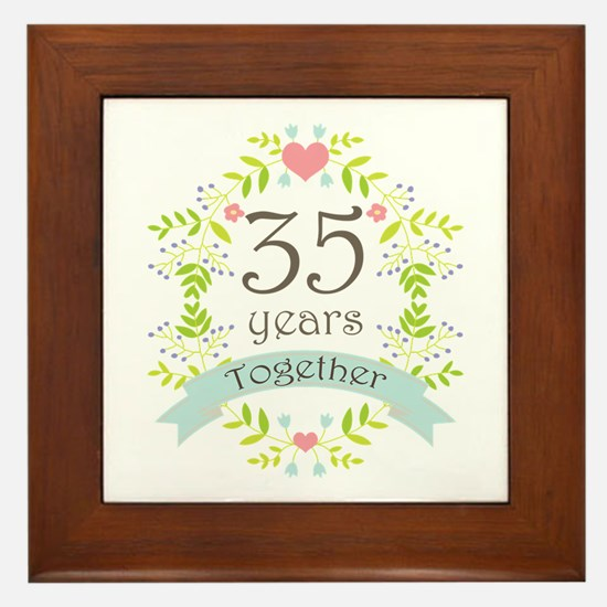 35th Anniversary flowers and hearts Framed Tile