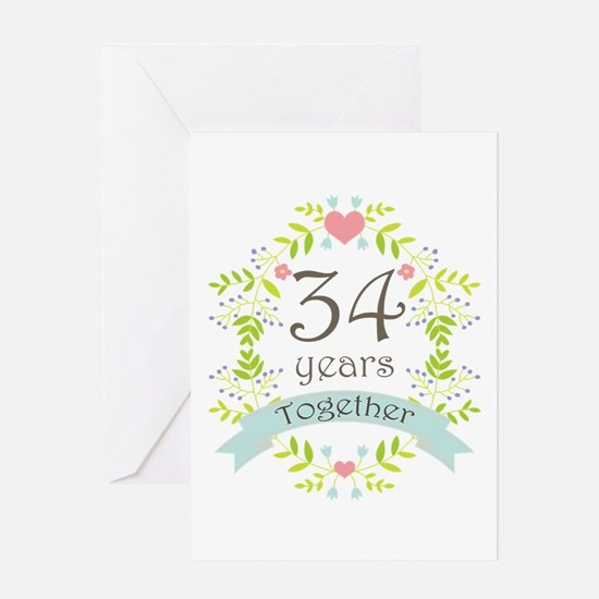 34th Anniversary flowers and hearts Greeting Card