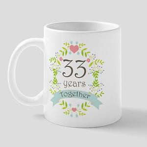 33rd Anniversary flowers and hearts Mug