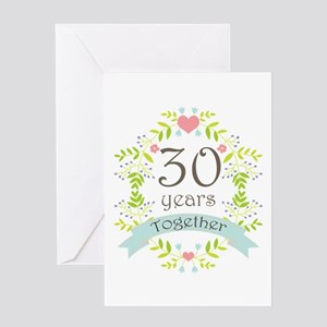 30th Anniversary flowers and hearts Greeting Card