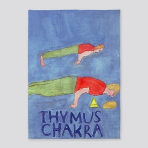 The Peacock Pose, Thymus Chakra 5'x7'Area Rug