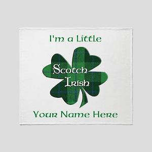Green Plaid Scotch Irish Shamrock Throw Blanket