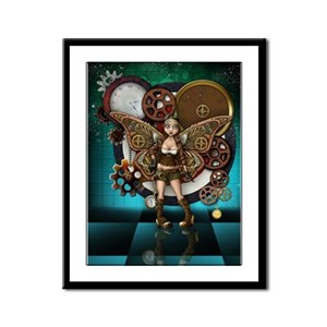 Steampunk Fairy Illustration Framed Panel Print