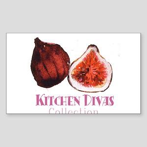 """""""Kitchen Divas"""" Rectangle Sticker"""