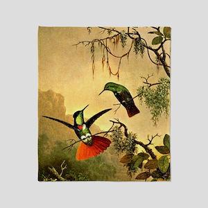 Two Hooded Visorbearer Hummingbirds Throw Blanket