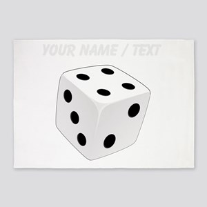 Custom White Playing Dice 5'x7'Area Rug
