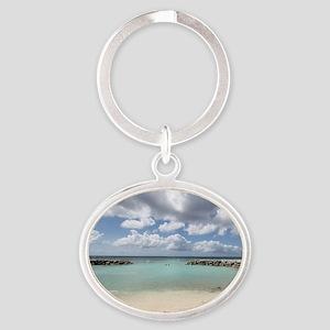 De Palm Island Oval Keychain
