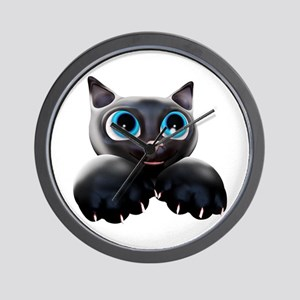 Kitty Cartoon Blue Eyes 3D Wall Clock