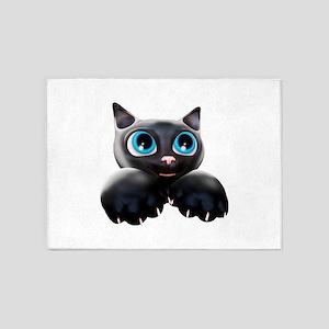 Kitty Cartoon Blue Eyes 3D 5'x7'Area Rug