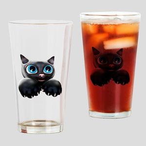 Kitty Cartoon Blue Eyes 3D Drinking Glass