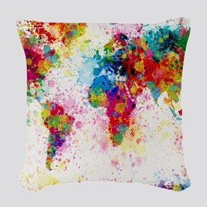 World Map Paint Splashes Woven Throw Pillow