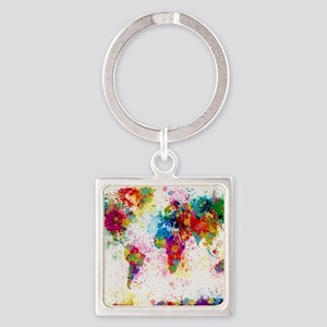 World Map Paint Splashes Square Keychain