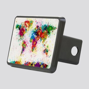 World Map Paint Splashes Rectangular Hitch Cover