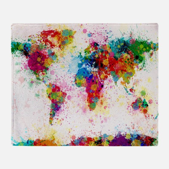 World Map Paint Splashes Throw Blanket