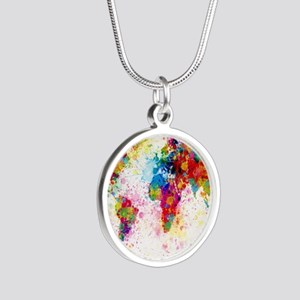 World Map Paint Splashes Silver Round Necklace